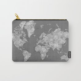 Dark gray watercolor world map with cities Carry-All Pouch