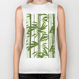 Green bamboo tree shoots pattern Biker Tank