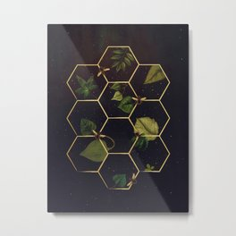 Bees in Space Metal Print