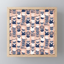 Swedish folk cats V // flesh background Framed Mini Art Print