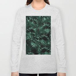 Tropical Palm Leaf Jungle Night #1 #tropical #decor #art #society6 Long Sleeve T-shirt