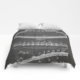 Football Patent - American Football Art - Black Chalkboard Comforters