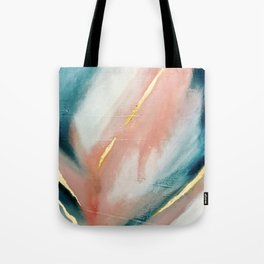 Celestial [3]: a minimal abstract mixed-media piece in Pink, Blue, and gold by Alyssa Hamilton Art Tote Bag