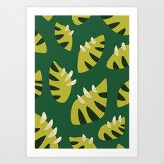 Pretty Clawed Green Leaf Pattern Art Print