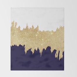 Modern navy blue white faux gold glitter brushstrokes Throw Blanket