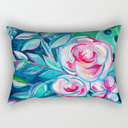 Tropical Camellia Extravaganza - oil on canvas Rectangular Pillow