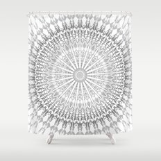 Gray White Mandala Shower Curtain