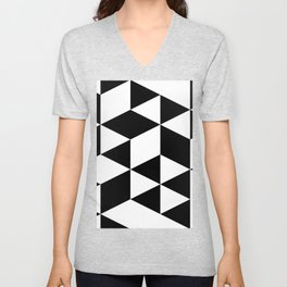 Black and White Geometric Triangle Shaped Abstract Unisex V-Neck