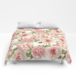 old fashioned peonies Comforters