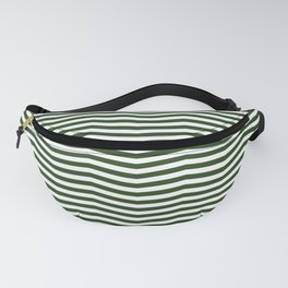 Dark Forest Green and White Chevron Zigzag Stripes Fanny Pack