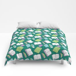 Doodle Books Pattern in Green, Blue and Purple Comforters