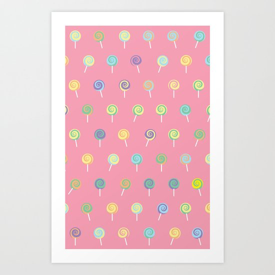 Cute Lollipop Pattern Art Print