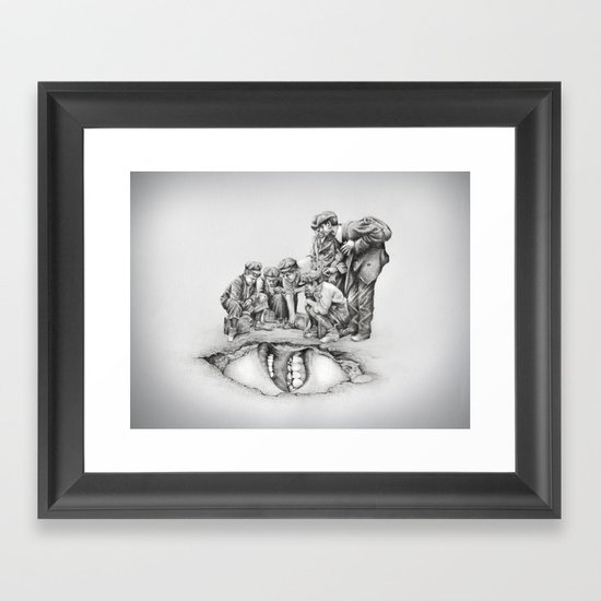 In which the cave is approached with caution  Framed Art Print