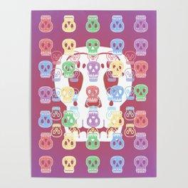 Skulls Pastel Pattern Poster