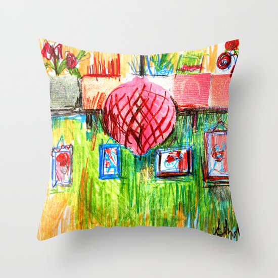 red lamp and shelf Throw Pillow
