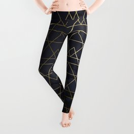 Modern Deco Gold and Marble Geometric Mountains on Navy Blue Leggings