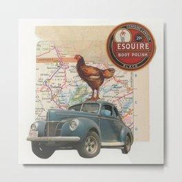 Rooster Road Trip - Vintage Collage Metal Print