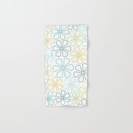 Abstract Flower Outlines Teals Yellow Lime White Hand & Bath Towel