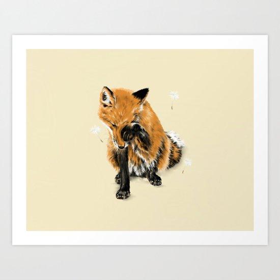 Fox and Dandelion Art Print