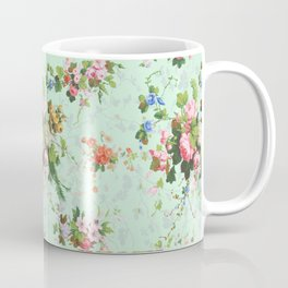 Antique romantic vintage 1800s Victorian floral shabby rose flowers pattern aqua mint hipster print Coffee Mug