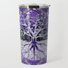 Silver Tree of Life Yggdrasil on Amethyst Geode Travel Mug