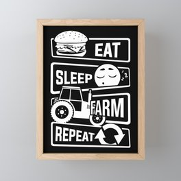 Eat Sleep Farm Repeat - Farmer Farmyard Farm Framed Mini Art Print