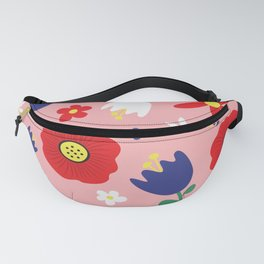 Spring Flowers Floral Pattern on Pink Fanny Pack