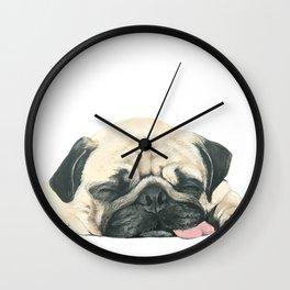 Nap Pug, Dog illustration original painting print Wall Clock