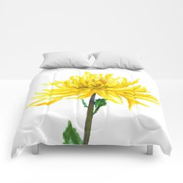 one yellow chrysanthemum Comforters