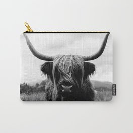 Scottish Highland Cattle Black and White Animal Carry-All Pouch