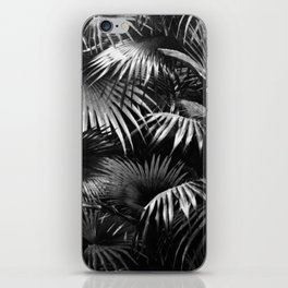 Tropical Botanic Jungle Garden Palm Leaf Black White iPhone Skin