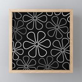 Abstract Flower Outlines Grays White Black Framed Mini Art Print