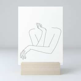 Minimal line drawing of woman's folded arms - Anna Mini Art Print