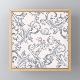 Vector fashion pattern with classic Victorian swirls and flourishes Framed Mini Art Print