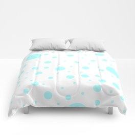 Mixed Polka Dots - Celeste Cyan on White Comforters