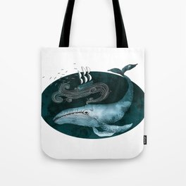 The whale and the ship Tote Bag