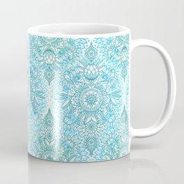 Turquoise Blue, Teal & White Protea Doodle Pattern Coffee Mug