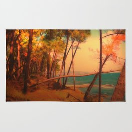 oil painting forest and sea Rug