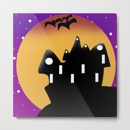 Halloween Moon And Castle Landscape Metal Print