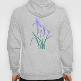vintage purple iris watercolor Hoody