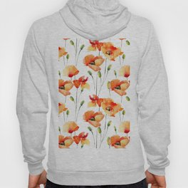 Hand Painted orange yellow watercolor poppies floral Hoody