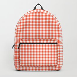 Small Living Coral Orange and White Buffalo Check Plaid Backpack
