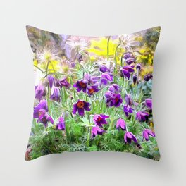 Purple Spring Rock Garden Flowers Throw Pillow