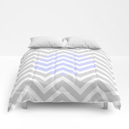 Periwinkle Gray & White Zig Zag Stripes Comforters