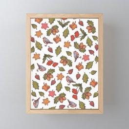 Folk autumn pattern fall Framed Mini Art Print