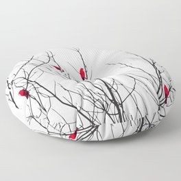 Artistic Bright Red Birds on Tree Branches Floor Pillow