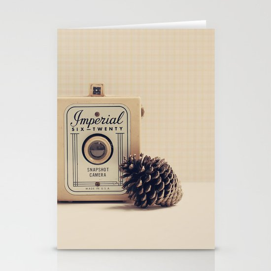 Retro Camera and Pine Cone Stationery Cards