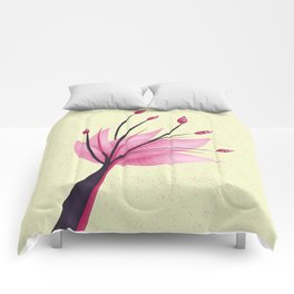 Pink Abstract Water Lily Flower Comforters