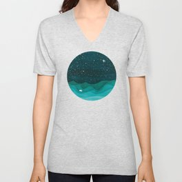 Starry Ocean, teal sailboat watercolor sea waves night Unisex V-Neck