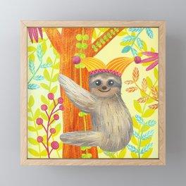 Happy Sloth Framed Mini Art Print